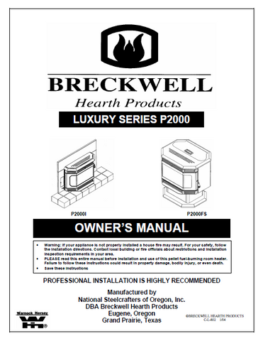 Breckwell P2000 2003 User's Manual - Pellet_BreckwellP2000 2003