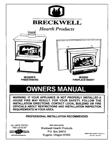 Breckwell 1999-2003 W3000FS & W3000I User's Manual - Wood_BreckwellW3000199-2003