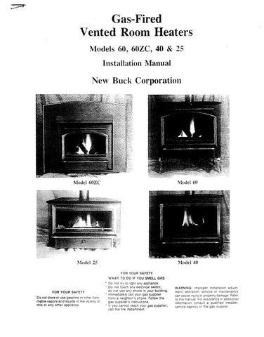 Buck Stove 60/60ZC/40/25 User Manual - Wood_Buck60-ZC-40