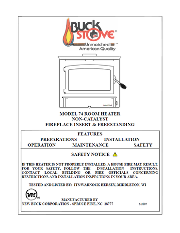 Buck Stove 74 User Manual - Wood_BSM74