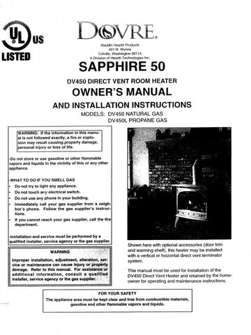 Dovre DV450 NG/LP User Manual - Gas_DV450NatLP
