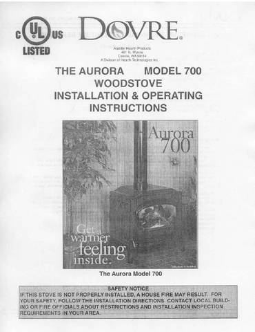 Dovre 700 User Manual - Wood_DM700WS
