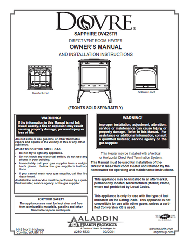 Dovre Sapphire 425TR User Manual - Gas_dovre Sapphire 425TR