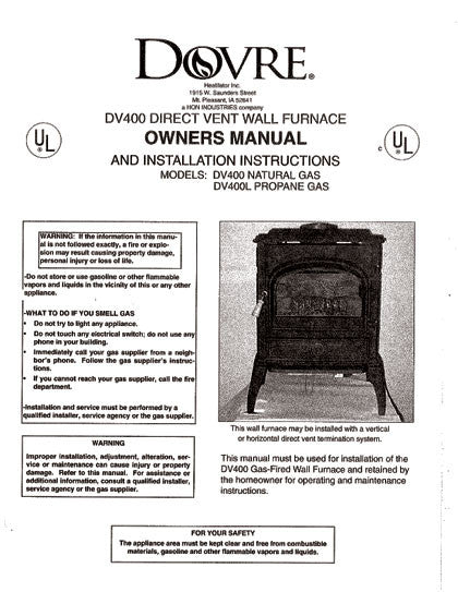 Dovre Dv400 User Manual Gas Dv400 Woodheatstoves Com