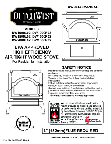 Vermont Castings DutchWest DW1000,1500,2000 User's Manual - Wood_DutchwestDW1000-1500-2000