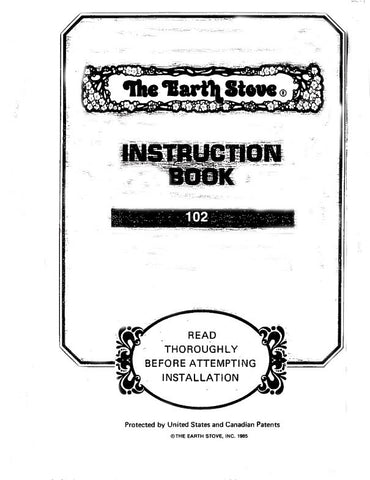Earth Stove 101/102/105 User Manual - Wood_ES102