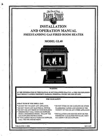 Earth Stove GL40 User Manual - Gas_ESGL40
