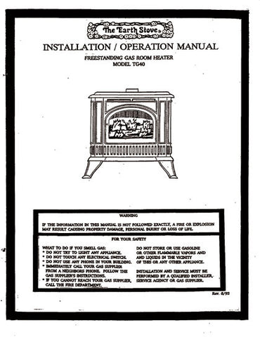 Earth Stove TG40 User Manual