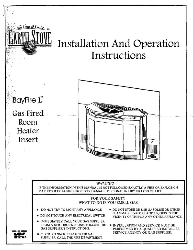 Earth Stove Bayfire User Manual Gas Esblgi