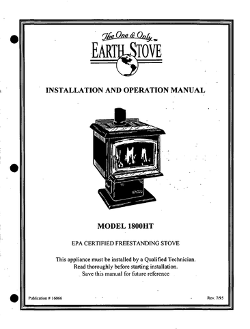 Earthstove 1800HT User Manual - Wood_es1800man