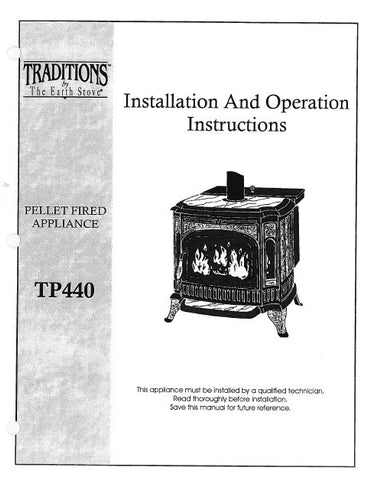 Earth Stove Traditions TP440 User Manual - Pellet_TP440
