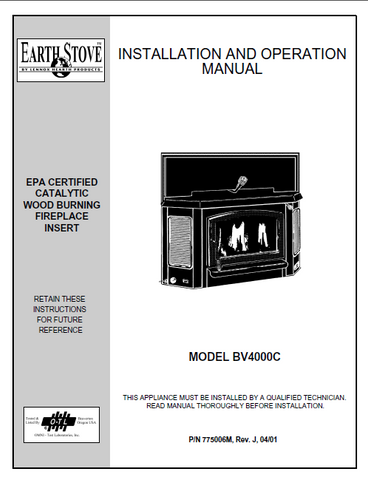 Earth Stove BV4000C User Manual - Wood_bv4000