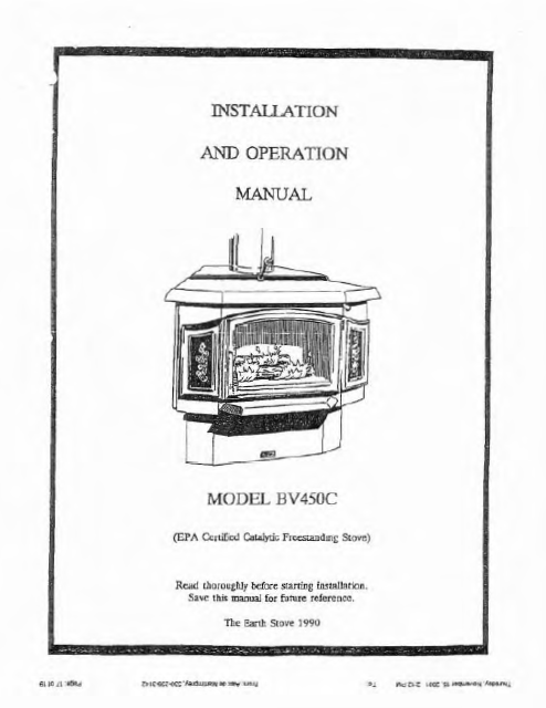 Earth Stove Bv450c Users Manual Wood Esbv450c