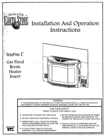 Earth Stove Bayfire L User Manual - Gas_ESBFL
