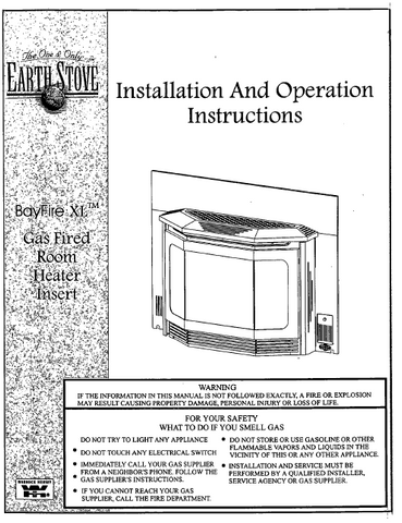Earth Stove Bayfire XL User Manual - Gas_ESBFXL