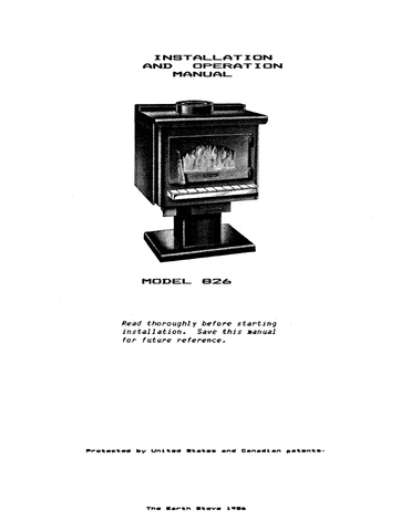 Earth Stove 826 User Manual - Wood_ES826