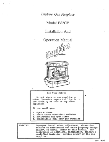 Earth Stove Bayfire ES2CV User Manual - Gas_ESBES2CV