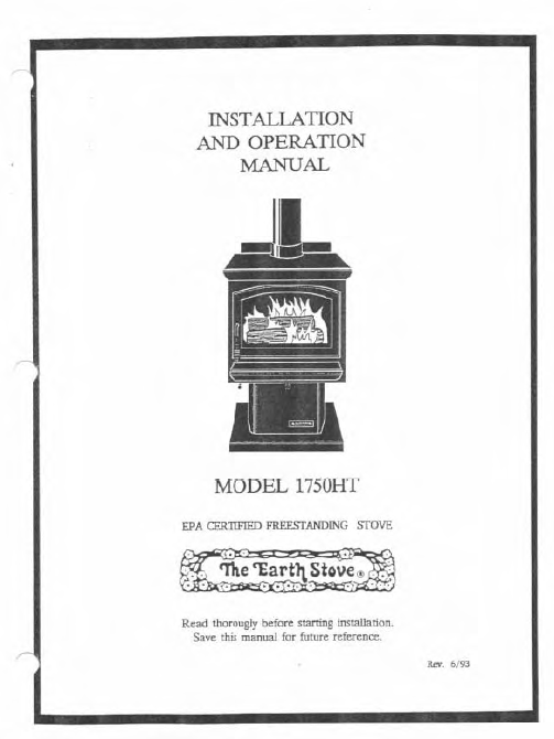 Earth Stove 1750ht Users Manual Wood Es1750ht