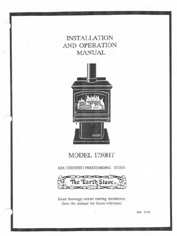 Earth Stove 1750HT Users Manual - Wood_es1750HT