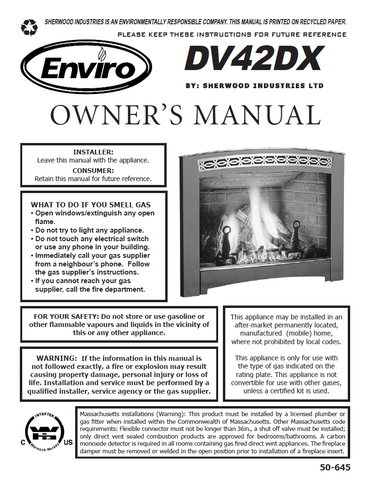 Enviro DV42DX User Manual - Gas_EG42DX