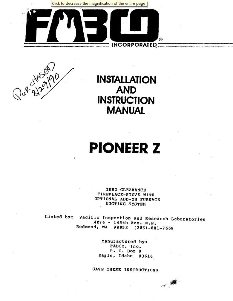Fabco 180 parts manual