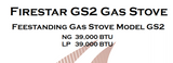 Country Firestar GS2 gas stove manual