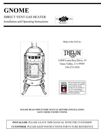 Thelin Gnome Direct Vent User Manual Gas Thgndvg