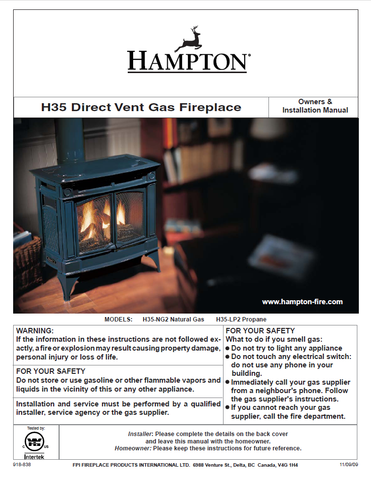 Hampton H35 DV User Manual - Gas_HH35DVFS