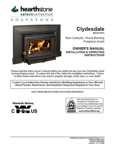 Hearthstone Clydesdale 8491 User Manual - Wood_HSC8491