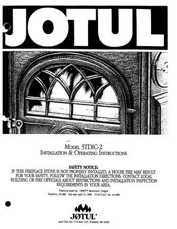 Jotul Model 3TDIC-2 User Manual - Wood_Jotul2tdic