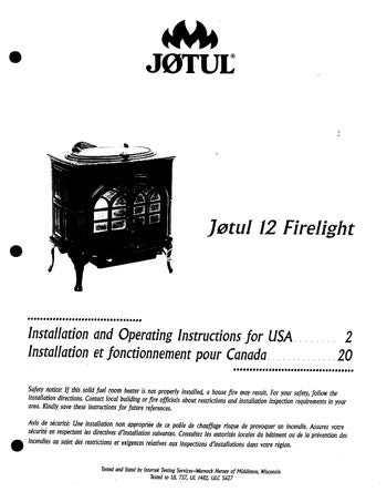 Jotul Model 12 Firelight User Manual - Wood_Jotulfl12