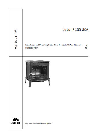 Jotul F 100 User Manual - Wood_JF100USA