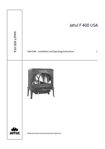 Jotul F 400 User Manual - Wood_JF400USA