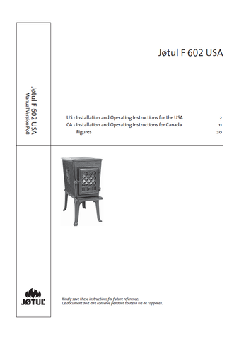 Jotul F 602 User Manual - Wood_JF602USA