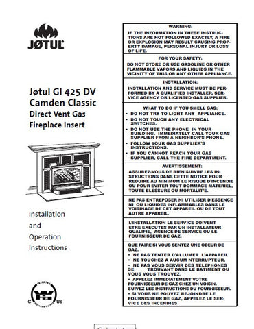 Jotul GI 425 DV Camden Insert User Manual - Gas_JGI425DV