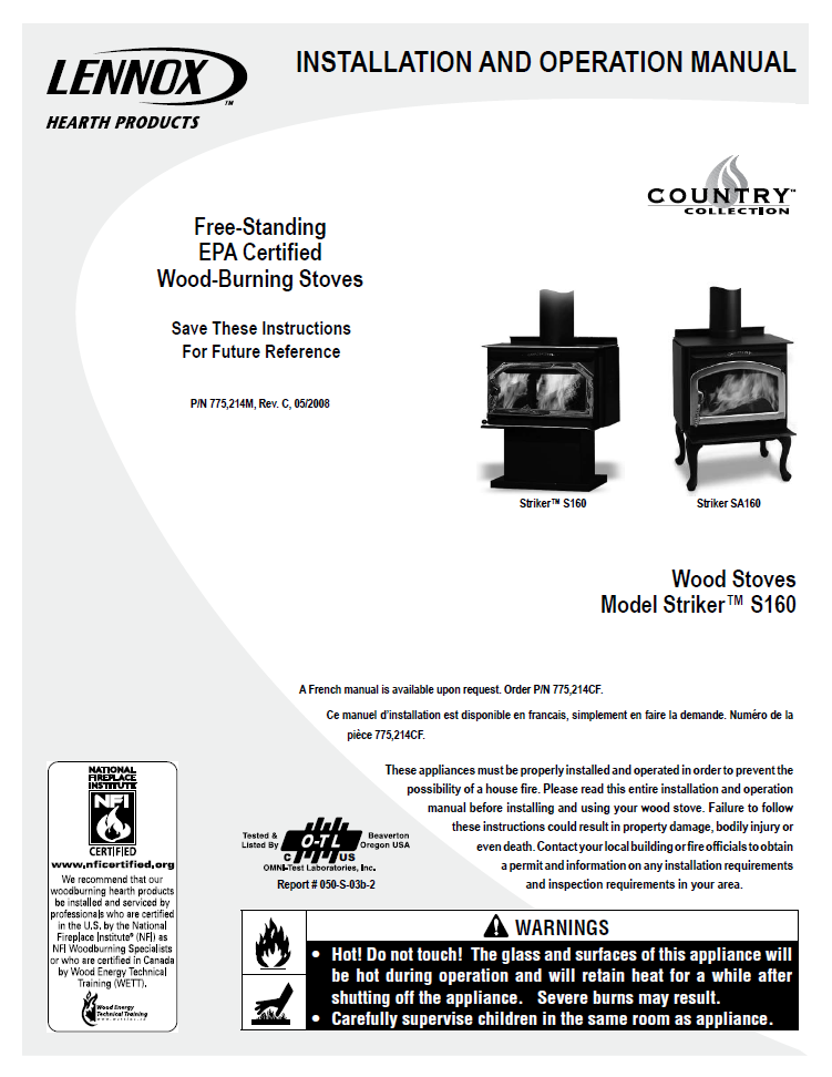 Country Striker S160 User Manual Wood Lcs160