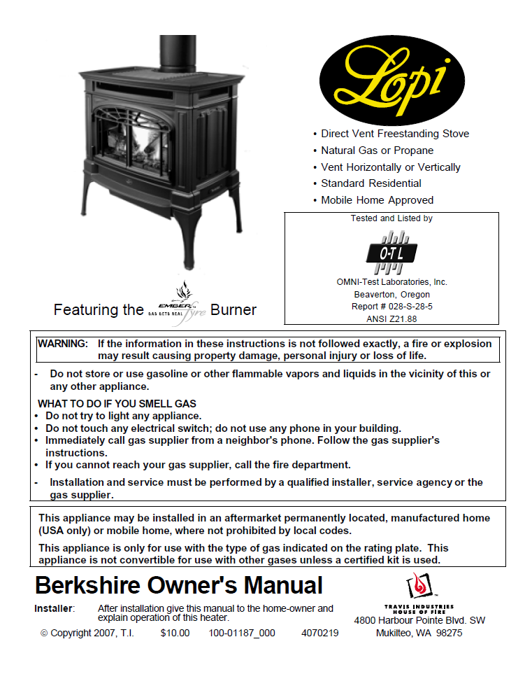 Lopi Berkshire User Manual Gas Berkshire