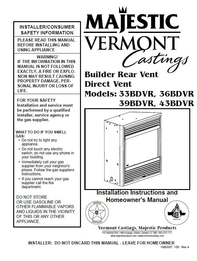 Vermont Castings Majestic Dv User Manual Gas 33bdvr