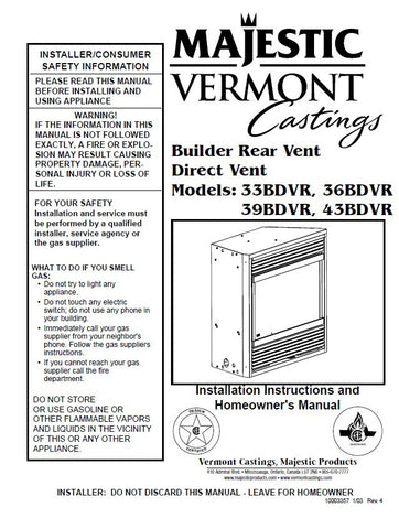 Vermont Castings Majestic DV User Manual - Gas_33BDVR, 36BDVR, 39BDVR, 43BDVR