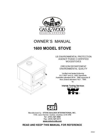 Osburn 1600 User Manual - Wood_OS1600