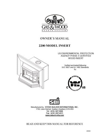 Osburn 2400  Insert User Manual - Wood_OS2400ins