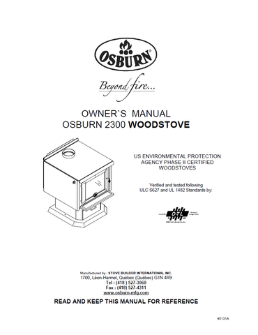 Osburn 2300 FS User Manual - Wood_OS2300FS