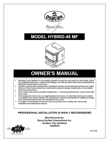 Osburn Hybrid 45 MF User Manual - Pellet_OSH45MF