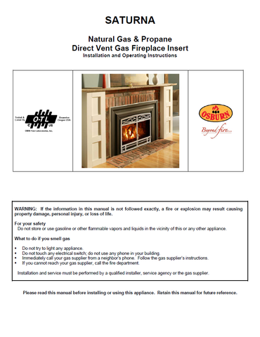 Osburn Saturna DV User Manual - Gas_OSSADV