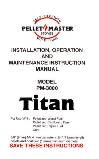 Pellet Master Pm 3000 Titan User Manual Pellet Pm 3000