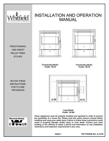 Whitfield Profile 20 - 30 User Manual - Pellet_wp2030