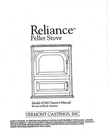 Vermont Castings Reliance Model #2340 User Manual - Pellet_VCReliance
