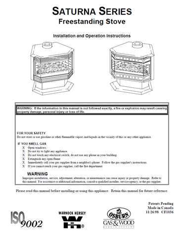 Osburn Saturna FS DV User Manual - Gas_OSFSDV