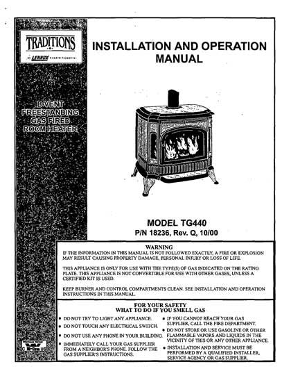 Traditions Tg440 User Manual Gas Tradtg440um