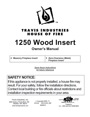 Travis Industries 1250 Insert User Manual - Wood_TI1250WI